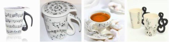 разные чашки с нотами