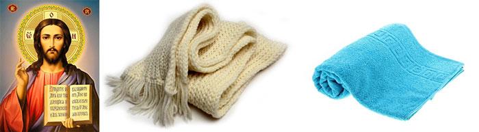 Икона, шарф и полотенце