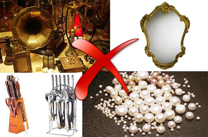 Антиквариат, зеркало, жемчуг, острые предметы