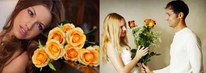 Желтые розы дарит парень девушке
