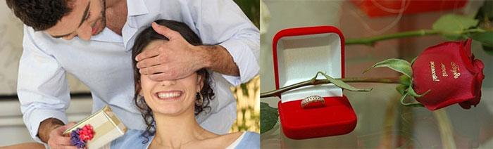 Подарок девушке от парня, кольцо и роза