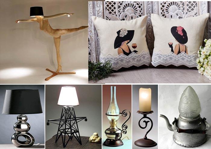 Оригинальные светильники и подушки с рисунком принтами