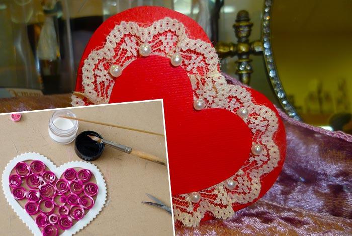 Валентинки из бумаги и кружева