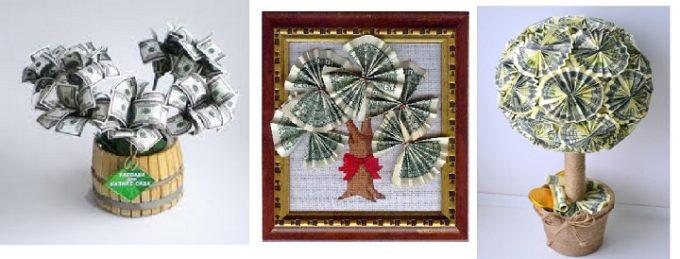 вариации деревьев из денег в подарок