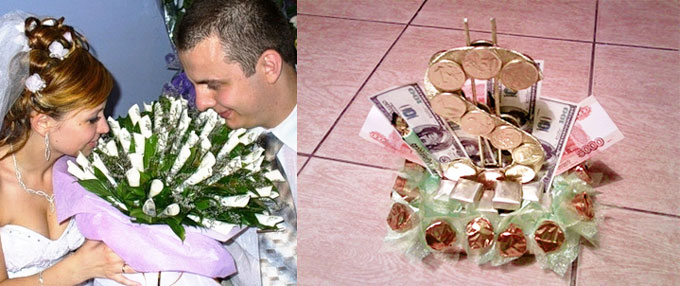 Букеты из денег на свадьбу