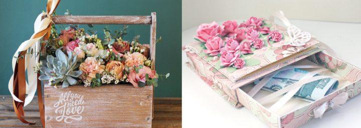 Деньги в подарок в корзине с цветами