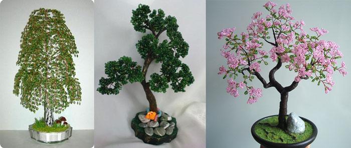 Самодельные деревья из бисера
