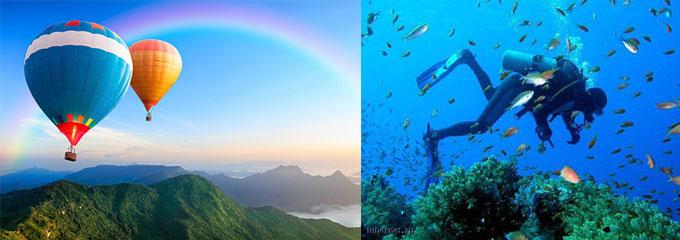 Воздушные шары в небе, погружение с аквалангом