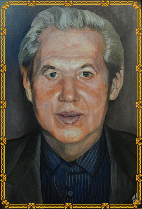 Портрет ддедушки с фото в рамке