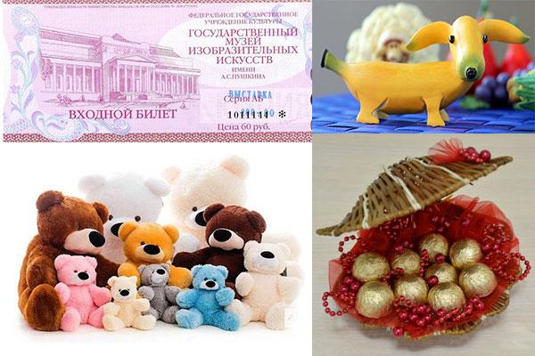 Билет на выставку, композиции из конфет и фруктов и мягкие игрушки