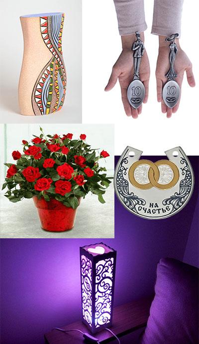 керамическая ваза, оловянные ложки, комнатные розу подкова на счастье, и светильник