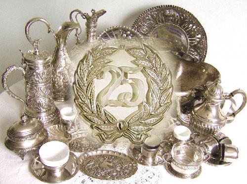 Серебряные вещи на юбилей 25