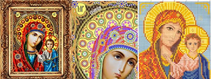 Вышитая икона Божьей Матери