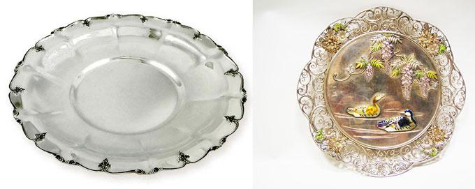 Декоративные серебряные блюда