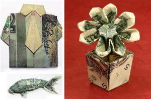 оригами из купюр: рыбка, рубашка, цветок