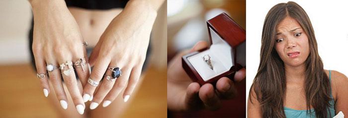 Кльца на руках, кольцо в подакров и недовольство подарком