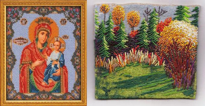 Икона и пейзаж из бисера