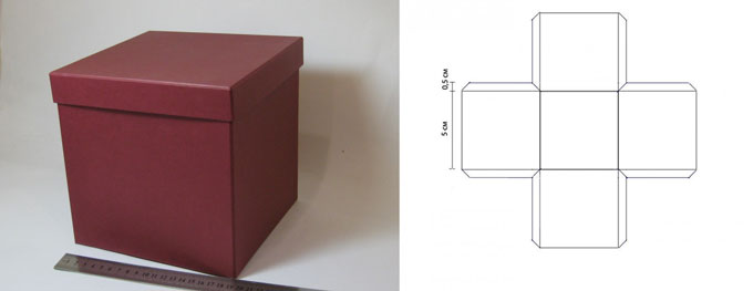 Квадратная коробочка с крышкой и схема сбора