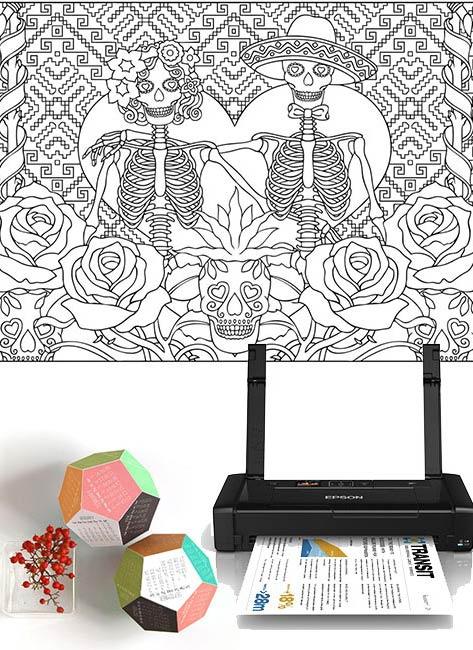 Раскраска для взрослых, оригинальный календарь и компактный принтер