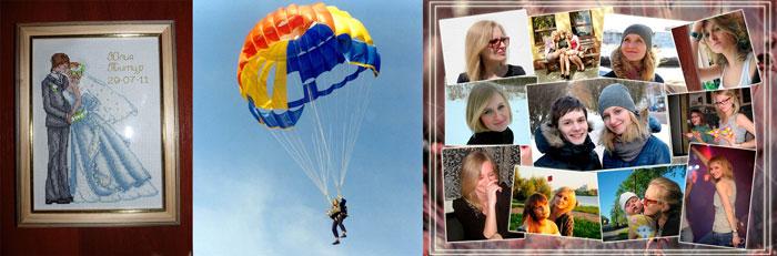 Вышитое панно, прыжок с парашютом и плакат из фото