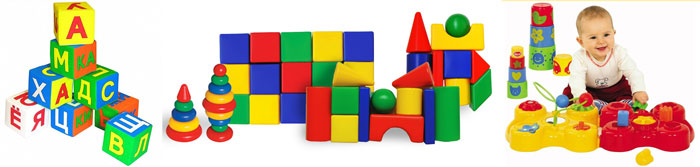 Детские кубики, пирамидки и конструкторы