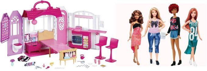 Розовый домик для куклы и несколько кукол