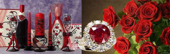 Набор шампанского и бокалов, перстень с рубином и розы