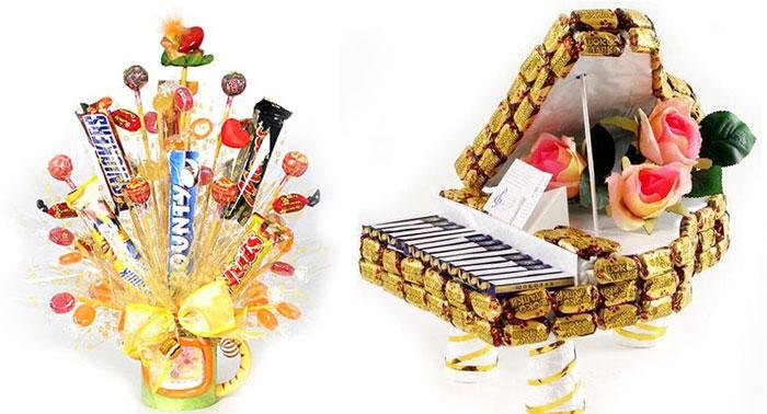 Цветы и поделки из конфет