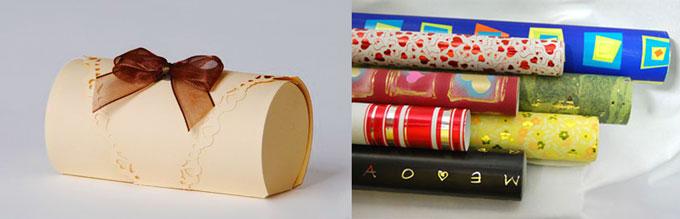 Подарочная бумака и округлая упаковка подарка