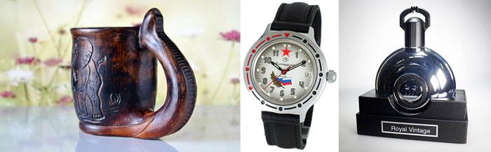 КУружка с гравировкой, командирские часы и мужчская туалетаня вода