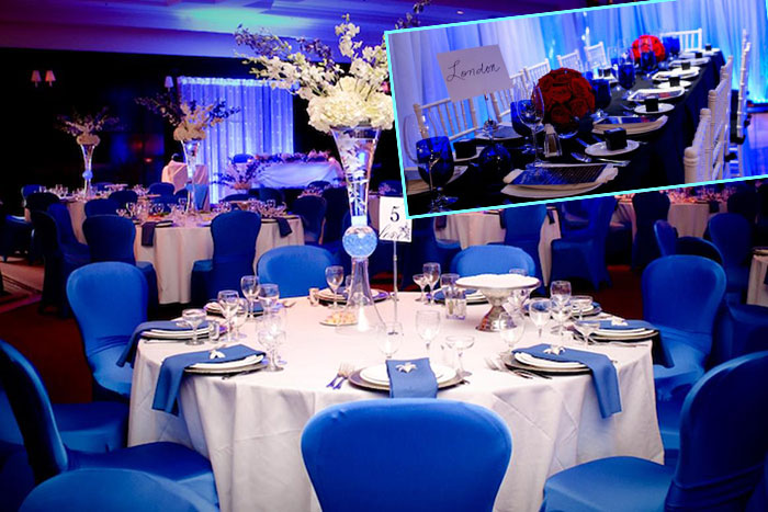 Декор зала в синем
