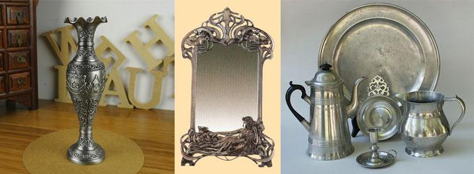 Оловянные посуда, ваза, зеркало