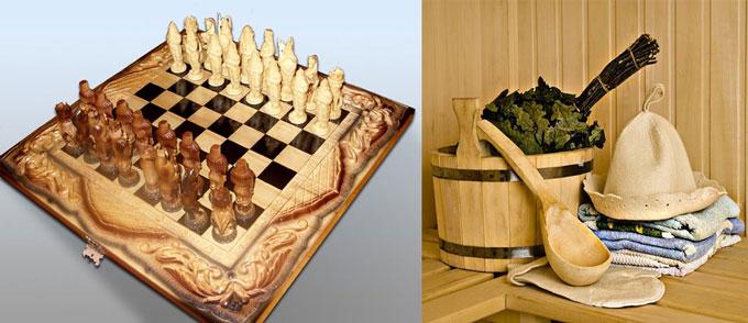 Деервянные шахматы и набор для бани