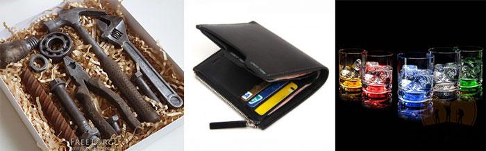 Шоколодный набор инструментов, бумажник и подсвеченые стаканы