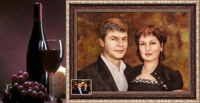 Портрет по фото и выдержанное вино