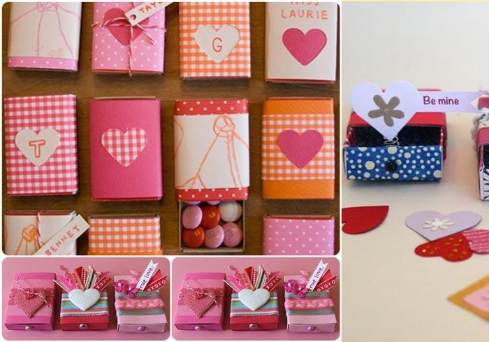 Валентинки из спичечного коробка