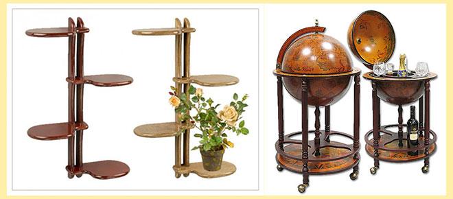Глобус мини-бар, и подставки для цветов из дерева