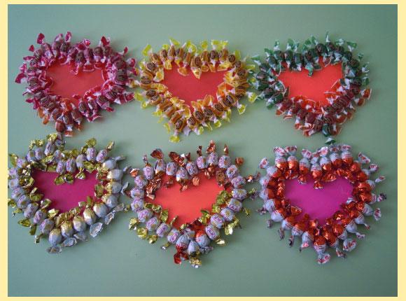 Валентинки из конфет