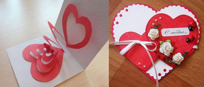 Самодельные валентинки-открытки