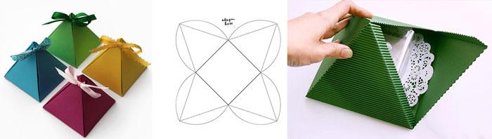 Сборная схема коробочки призмы или пирамидки