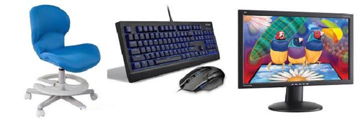 клавиатура, монитор, сиденье