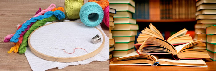 Набор для вышивания и книги