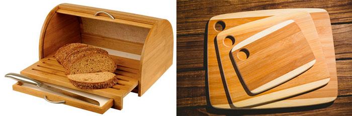 Деревяянные хлебница и кухонные доски