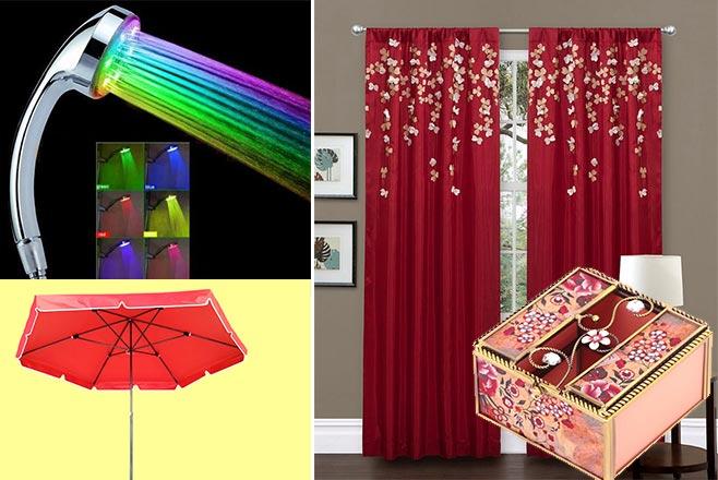 Светящийся душ, красные шторы, шкатулка и большой зонт