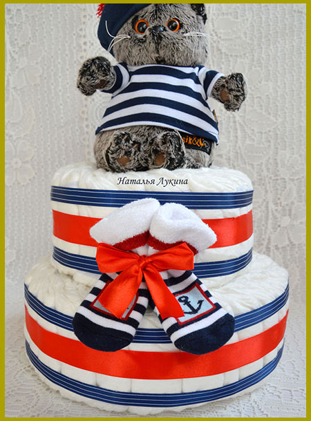 Торт морячок из памперсов для мальчика