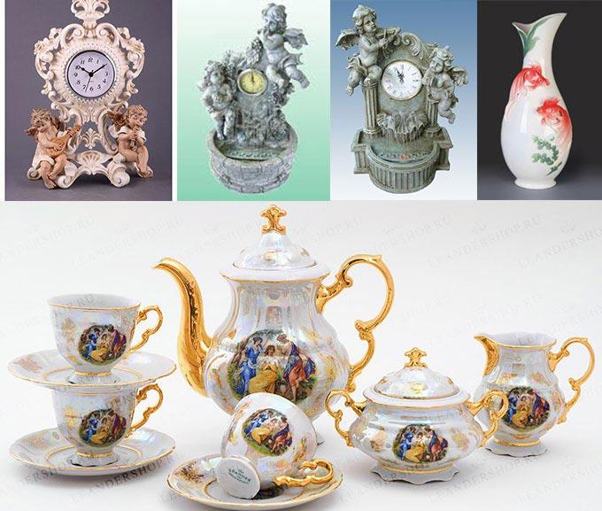 Кофейный сервиз, ваза и часы