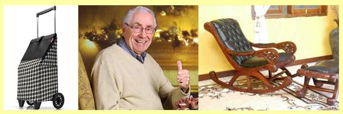 Сумка-тележка, одежда дедушки, кресло-качалка
