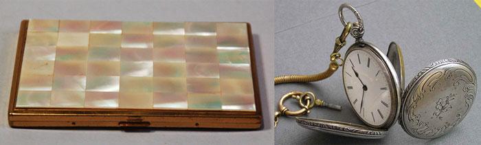 Перламутровые портсигар и часы карманные