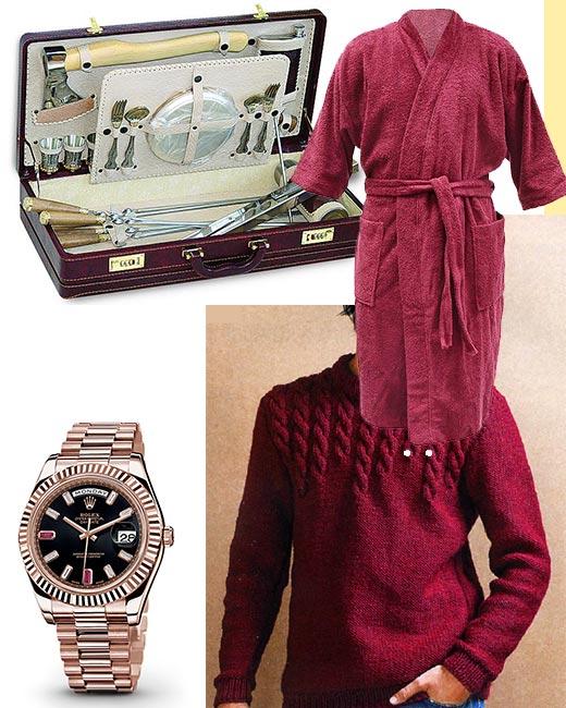Набор для похода, красные полувер и банный халат, часы с рубином