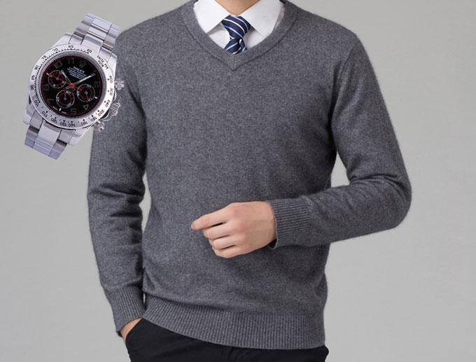 Стильные часы и кашемировый мужской свитер